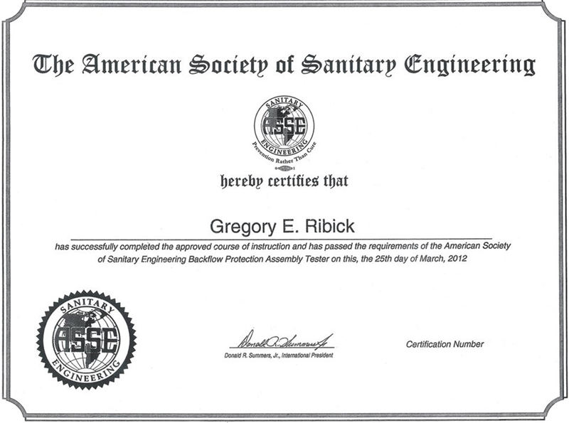 American Society Of Sanitary Engineering (ASSE) - Greg Ribick, Certified Backflow Protection Assembly Tester